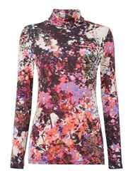 Pied A Terre Print Longsleeve Rollneck Top Multi Coloured
