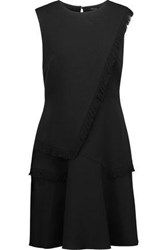 Raoul Ellery Layered Fringed Crepe Mini Dress Black