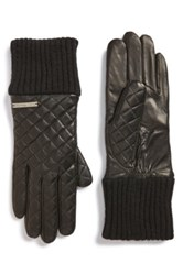 Michael Michael Kors Knit Cuff Quilted Leather Gloves Black