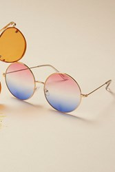 Free People Womens Ocean Drive Round Sunglas