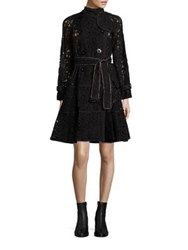 Sacai Chain Lace Trenchcoat Black