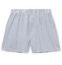 Sunspel Printed Cotton Boxer Shorts Blue