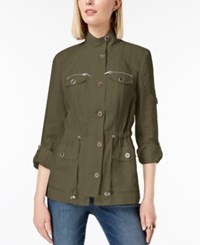 Inc International Concepts I.N.C. Linen Utility Jacket Created For Macy's Olive Drab