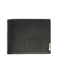 Armani Collezioni Black Safiano Leather Wallet With Green Grained Leather Interior
