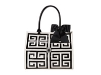 My Flat In London Corniche Square Tote Natural Black Tote Handbags Beige