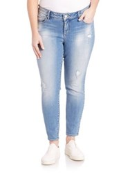 Slink Jeans Plus Size Distressed Ankle Jeggings Samantha Wash