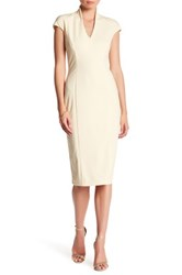 Alexia Admor V Neck Midi Dress White