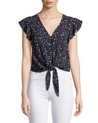 Cupcakes And Cashmere Bellfield Tie Front Dot Print Top Navy