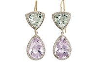 Renee Lewis Women's Mixed Gemstone Double Drop Earrings Purple