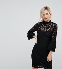 17ba0f55d0bf1 Paper Dolls Petite High Neck Midi Lace Dress With Double Frill Sleeve Black