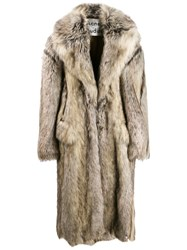Acne Studios Double Breasted Faux Fur Coat Neutrals