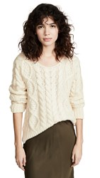 Ryan Roche Cable Knit Sweater Ivory