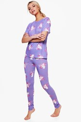 Boohoo Alice Unicorn Leggings Tee Pajamas Multi