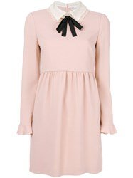 Red Valentino Pussy Bow Collar Dress Women Silk Polyester Spandex Elastane Viscose 44 Pink Purple