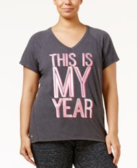 Ideology Plus Size Metallic Graphic T Shirt Only At Macy's Charcoal Heather