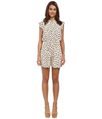 Kate Spade Leopard Dot Crepe Romper Shell Women's Jumpsuit And Rompers One Piece Beige