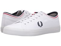 Fred Perry Kendrick Tipped Cuff Canvas White Navy Bright Red Men's Lace Up Casual Shoes