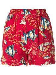 R 13 R13 Hawaiian Shorts Red