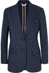 Thom Browne Pinstriped Cotton Blazer Navy