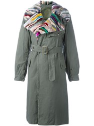 Mr And Mrs Italy Fur Collar Trench Green