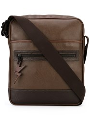 Neil Barrett Lightning Tag Messenger Bag Men Leather One Size Brown