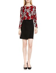 Vince Camuto Long Sleeve Woodland Floral Dress Red