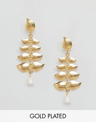 Ottoman Hands Leaf Drop Earrings Gold