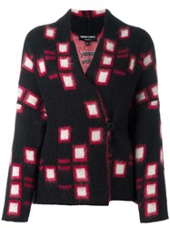 Emporio Armani Square Pattern Knitted Blazer Black