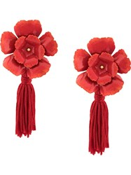 Jennifer Behr Floral Tassel Earrings Red