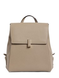 Valextra Iside Grained Leather Backpack Oyster