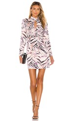 Kendall Kylie Shirred Neck Keyhole Dress In Pink Purple. Zebra