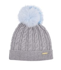 Burberry Shoes And Accessories Wool Cashmere Pom Pom Beanie Female Grey
