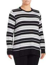 Marc New York Plus Stripe Side Slit Sweater Black Combo