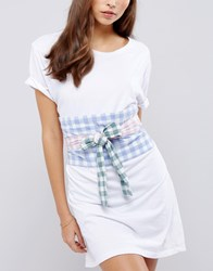 Asos Colour Blocked Gingham Obi Belt Multi