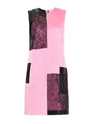 Christopher Kane Satin Lace And Patent Leather Shift Dress