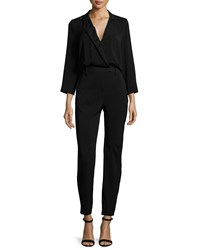 Halston Heritage Long Sleeve Slim Leg Jumpsuit Black