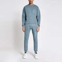 River Island Pastel Tech Blue Nylon Pocket Sweatshirt