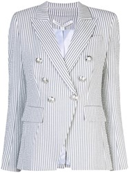 Veronica Beard Striped Double Breasted Blazer Grey