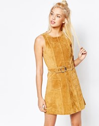 Monki Real Leather Suede Skater Dress Brown