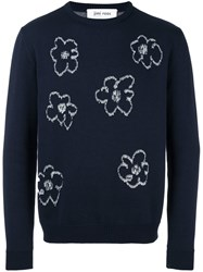 Jimi Roos Flower Embroidered Jumper Blue