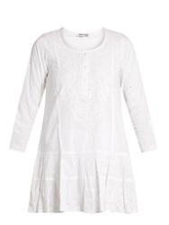 Juliet Dunn Floral Embroidered Cotton Beach Dress White