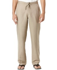 Cubavera Solid Linen Blend Drawstring 32 Length Pants Timber Wolf