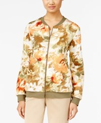 Alfred Dunner Cactus Ranch Collection Floral Print Bomber Jacket Multi