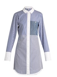 Elizabeth And James Jay Multi Striped Cotton Poplin Shirtdress Blue White