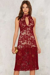 As A Keyhole Lace Dress Red
