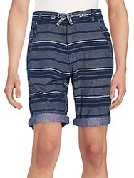 Buffalo David Bitton Multistriped Cotton Shorts Navy Multi