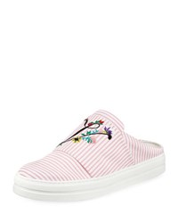 Roger Vivier Floral Embroidered Sneaker Mule Pink White