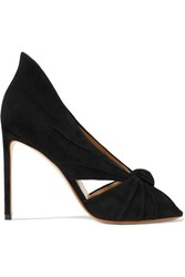 Francesco Russo Knotted Suede Pumps Black