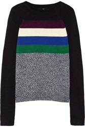 Tibi Color Block Knitted Sweater Black