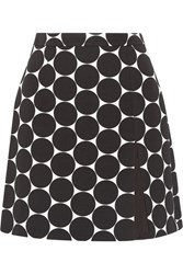 Michael Kors Collection Polka Dot Cotton And Silk Blend Matelasse Mini Skirt Black